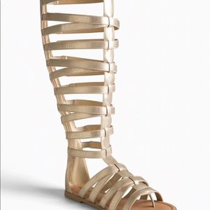 Gold tall gladiator sandals (wide)